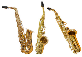 classical wind musical instrument saxophone isolated on white background