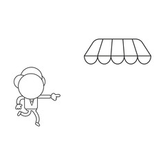 Vector illustration of businessman character running and pointing store awning. Black outline.