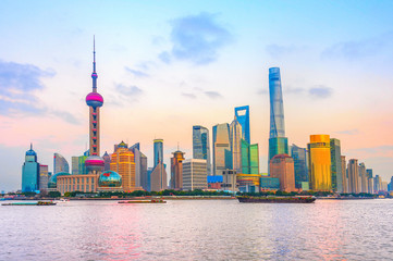 Fototapete - Shanghai metropolis skyline at sunset