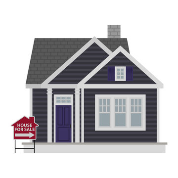 Small Gray House For Sale Illustration - Small dark gray cottage house with purple door and for sale sign