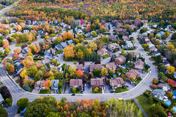 Aerial view of residential neighbourhood in Montreal during Fall season, Quebec, Canada.