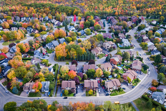 Aerial view of residential neighbourhood in Montreal during Autumn season, Quebec, Canada.