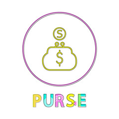 Wall Mural - Purse Online Bright Round Linear Icon Template