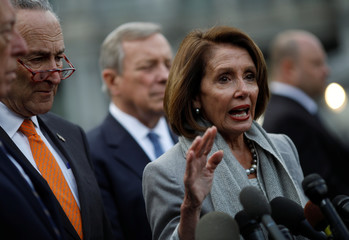 Speaker of the House Pelosi and Senate Minority Leader Schumer speak to the media as they depart after meeting President Trump at White House in Washington