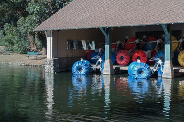 Paddleboats stored under roof of building on lake. Red, blue, and yellow wheels..