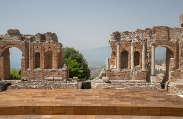 The ancient theatre in Taormina in Sicily