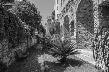 Public Gardens and ruins in Taormina in Sicily