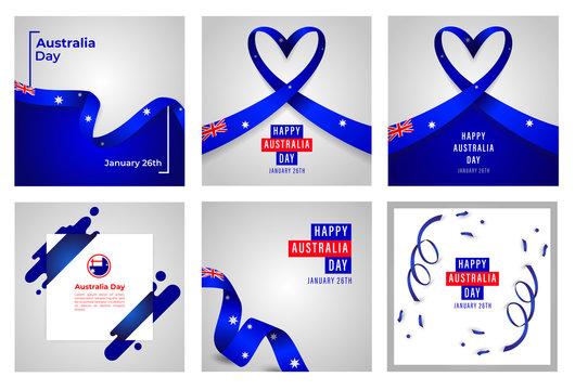 Happy Australia Day Vector Set of Templates Design Illustration