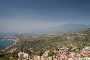 A view in Taormina in Sicily with Mount Etna
