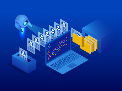 Isometric robot analyzes the database of employees or personnel. Data processing. Robot HR manager. Artificial intelligence working for big data analysis.