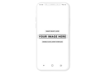 White Smartphone Mockup Isolated on White
