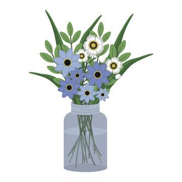 Floral Bouquet in Mason Jar Illustration - Pretty flowers in glass mason jar