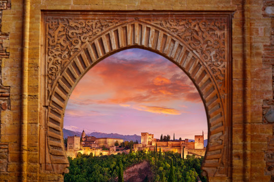 Alhambra arch Granada illustration mount