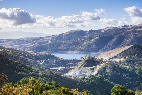 View towards Calaveras reservoir, where a new dam is being built;  Calaveras Reservoir is part of the Hetch Hetchy system that captures water in the Sierra; east San Francisco bay area; California