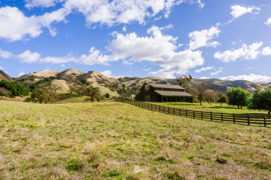 Old farmhouse in Sunol Regional Wilderness on a sunny winter days, east San Francisco bay area, California