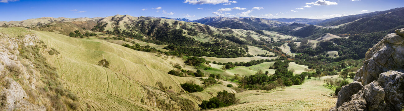 Panoramic view of the hills and valleys of Sunol Regional Wilderness, San Francisco bay area, California