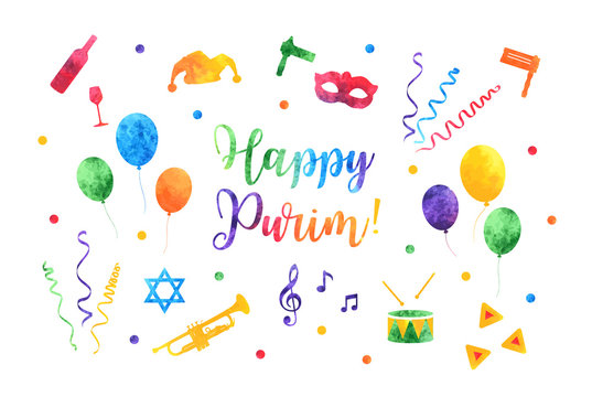 Happy Purim Jewish Holiday greeting card. traditional Purim carnival symbols watercolor design elements, icons isolated on white background. Vector illustration.