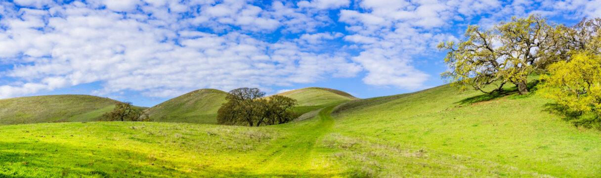 Hiking trail through the verdant hills of south San Francisco bay area, San Jose, California