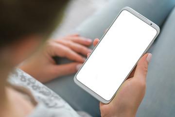 phone white screen woman hands smartphone. Mockup image of smart phone. close up. chroma key.