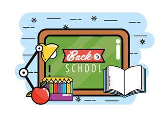 blackboard with pencils colors and book to back school