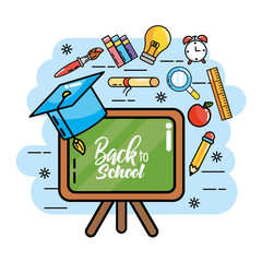 blackboard with graduation cap and pencils colors