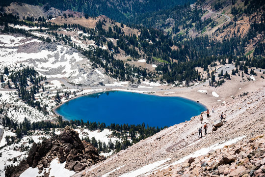 Aerial view of Lake Helen as seen from the trail to Lassen Peak; Lassen Volcanic National Park, Northern California