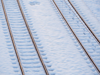 Empty train tracks in the snow