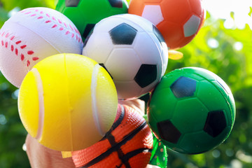 balls of sports on natural green background