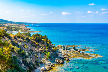 Ragged coast of Akamas peninsula on Cyprus