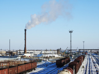 Factory chimney, WHITE thick smoke on the sky, RAILWAY STATION, RAIL, CARRIAGE