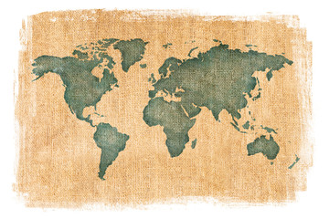 World map layered over a textured burlap background with antique finish and white edges. Tan and brown neutral colors.