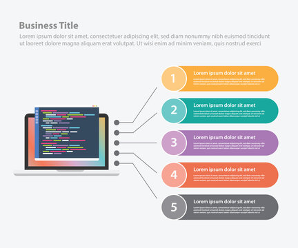 programming infographic data template banner for information statistic - vector