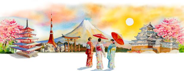Famous landmarks of Japan in spring. Fototapete