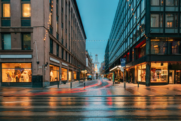 Helsinki, Finland. New Year Lights Xmas Christmas Decorations An Fotomurales