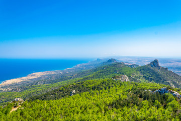 View over Karpaz peninsula in the northern Cyprus from Kantara castle