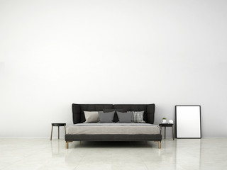 3D rendering interior design of minimal bedroom and white concrete wall texture background