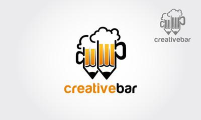 Beer mug pencil. Vector logo design template. Alcoholic drink icon. - Vector