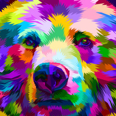 colorful bear close up