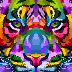 Colorful Tiger close up