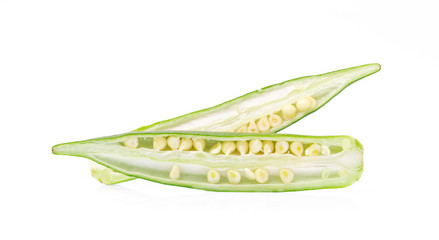 slice young okra isolated on white background