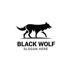 Wolf walking logo template isolated on white background