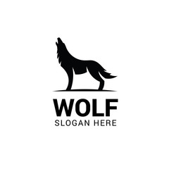 Wolf howling logo template isolated on white background
