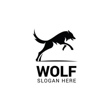 Jumping wolf logo template isolated on white background