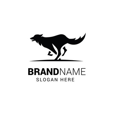 Running wolf logo template isolated on white background