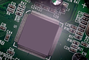 Close-up of Electronic chip in a computer circuit board.
