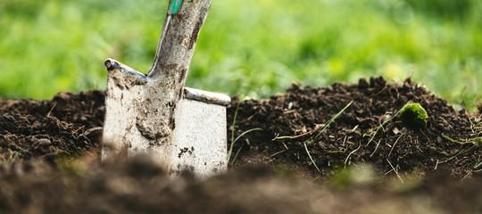 Header, Schaufel oder Spaten steckt in Erde, Gartenarbeit und Gärtner Hintergrund