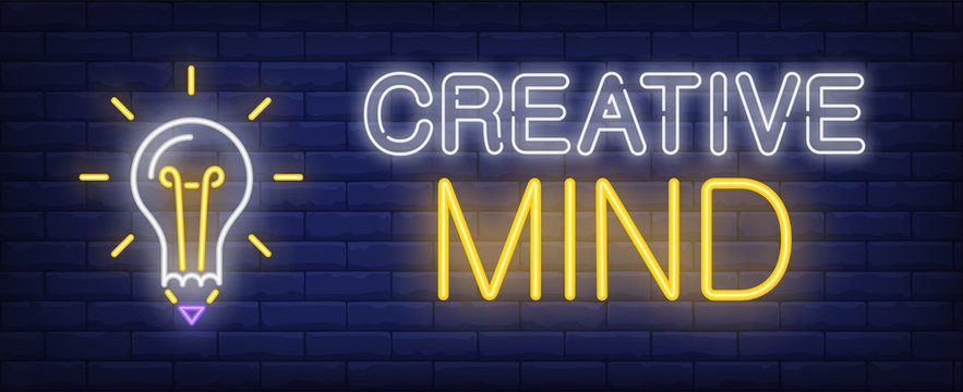 Creative mind neon text and glowing light bulb with pencil tip. Idea concept design. Night bright neon sign, colorful billboard, light banner. Vector illustration in neon style.
