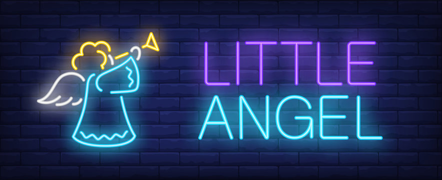 Little angel neon text with cute angel blowing trumpet. Christmas or Easter design element. Night bright neon sign, colorful billboard, light banner. Vector illustration in neon style.