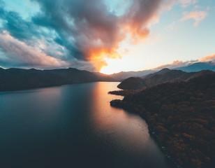 空撮/ドローン 奥日光 中禅寺湖の夕焼け Evening glow of Lake Chuzenji, Nikko Japan