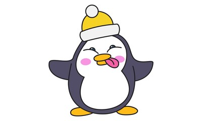 Vector cartoon illustration of cute penguin wearing cap and showing tongue out. Isolated on white background.